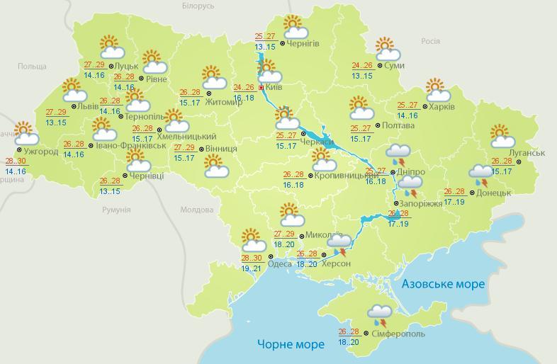 Карта погоды на 22 августа