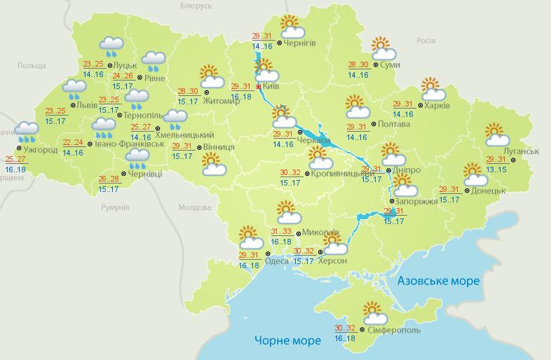 Карта погоды на 19 августа