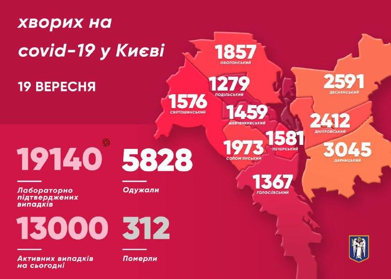 Карта по районам Киева на 19 сентября
