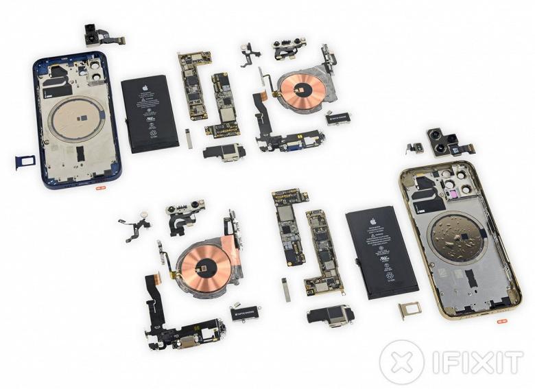 18 магнитов, взаимозаменяемые батареи и экраны и высокая ремонтопригодность. Полная разборка iPhone 12 и iPhone 12 Pro