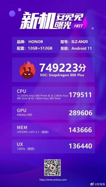 Первый на Snapdragon 888 Plus. HonorMagic3 засветился в бенмарке, где не показал лучший результат