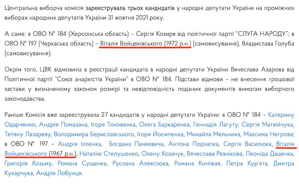 """В Черкасской области полиция завела дело из-за регистрации на выборы кандидата-""""двойника"""""""
