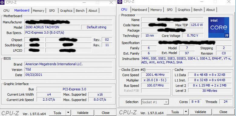 Intel Core i9-12900K засветился с материнской платой Gigabyte Z690 Tachyon и памятью DDR5-8000